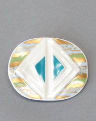 Hutschenreuther Porcelain Brooch in Teal