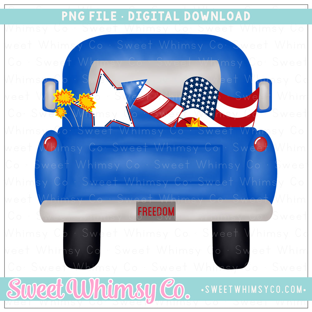 4th of July Blue Pickup Truck PNG Design