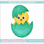 Aqua Hatching Chick PNG Design