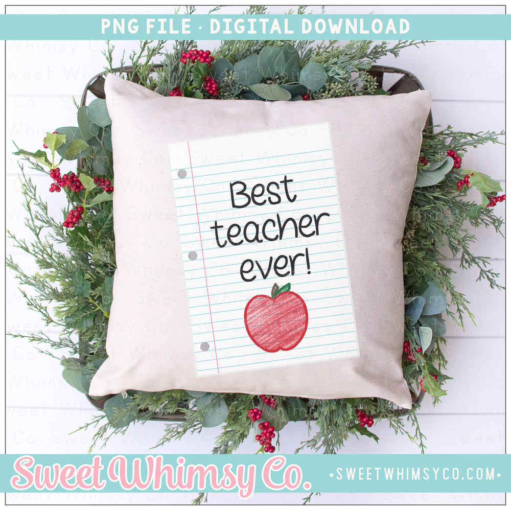 Best Teacher Ever Paper PNG Design
