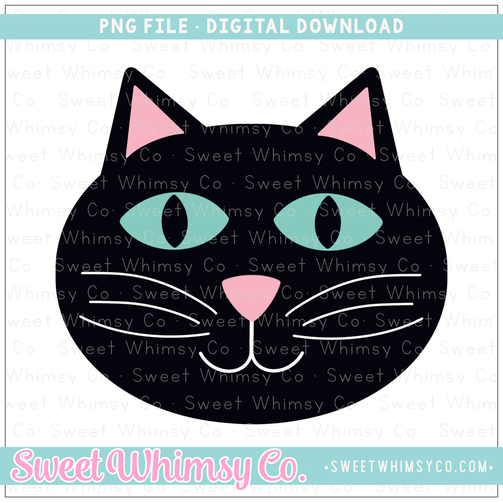 Black Cat Face PNG Design