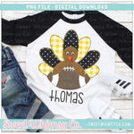 Black & Yellow Faux Applique Football Turkey Boy PNG Design