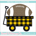 Yellow Gold & Black Football Wagon PNG Design