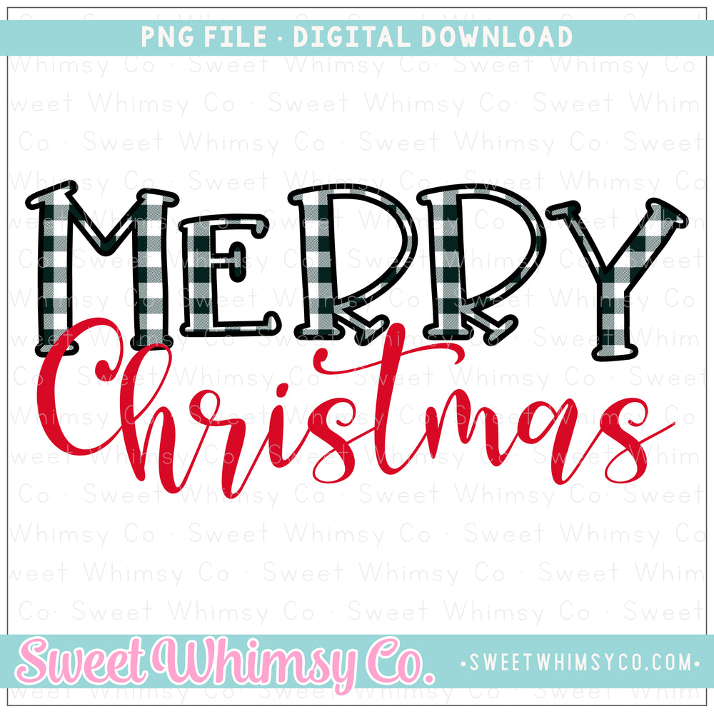 Black & White Buffalo Check Merry Christmas PNG Design