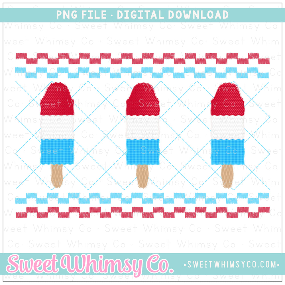 Bomb Pop Blue Faux Smocked PNG Design