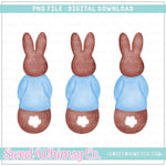 Bunny Blue Shirt Trio PNG Design