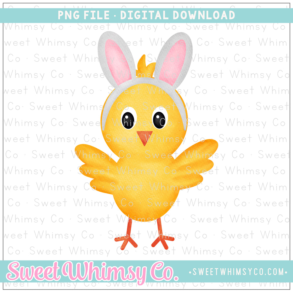 Bunny Ears Chick PNG Design