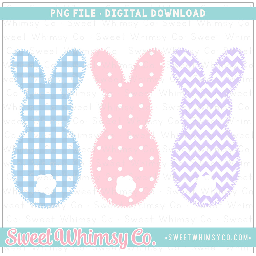 Blue, Pink, & Lilac Faux Applique Bunny Trio PNG Design