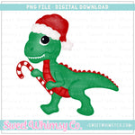 Candy Cane Dinosaur PNG Design