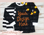 Candy Corn Black Striped Pajama Mock Up