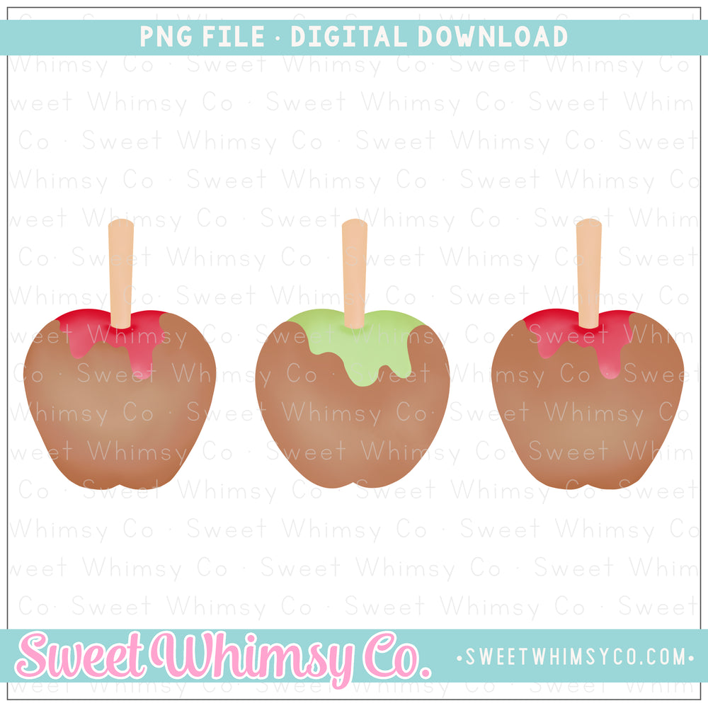 Red & Green Caramel Apple Trio PNG Design