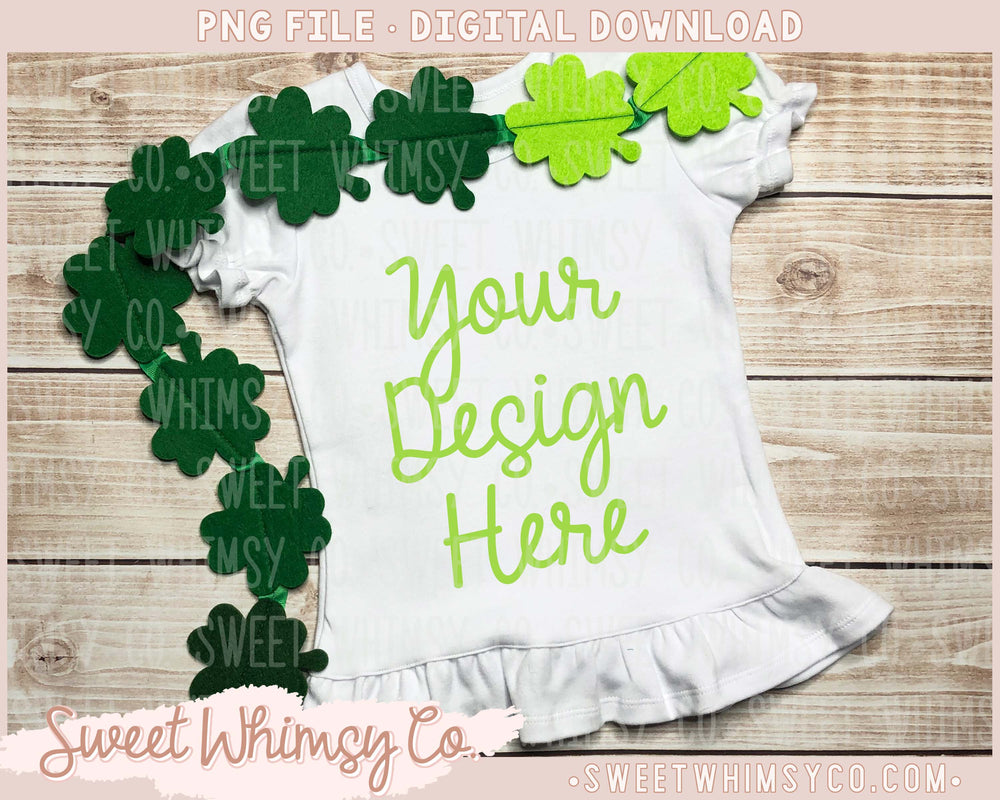 Clover Short Sleeve Ruffle Shirt Mock Up