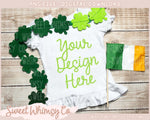 Clover Irish Flag Short Sleeve Ruffle Shirt Mock Up