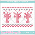 Crawfish Red and Gray Faux Smocked PNG Design