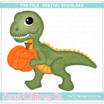 Dinosaur With Pumpkin PNG Design