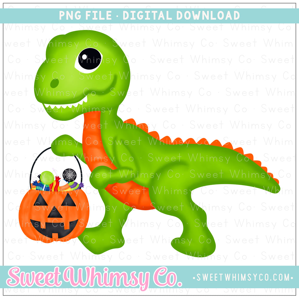 Dinosaur With Treat Bucket PNG Design