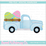 Easter Egg Blue Vintage Truck PNG Design
