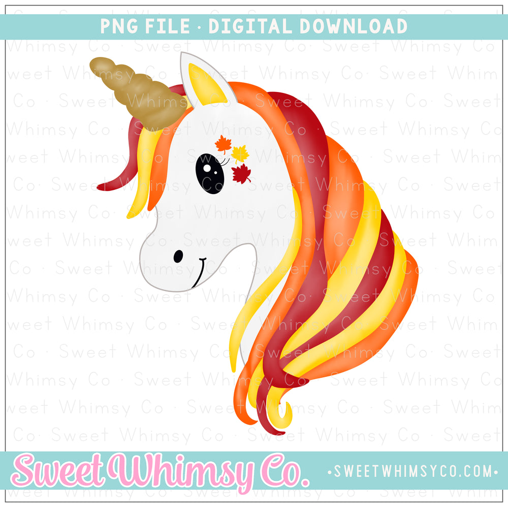 Fall Leaves Unicorn PNG Design