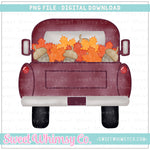Fall Leaves and Acorns Pickup Truck PNG Design