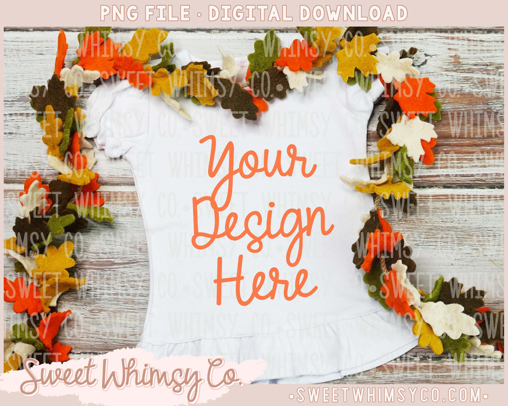 Fall Leaves Short Sleeve Ruffled Shirt Mock Up
