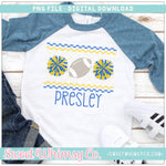 Football Cheer PomPom Royal Blue & Yellow Faux Smocked PNG Design