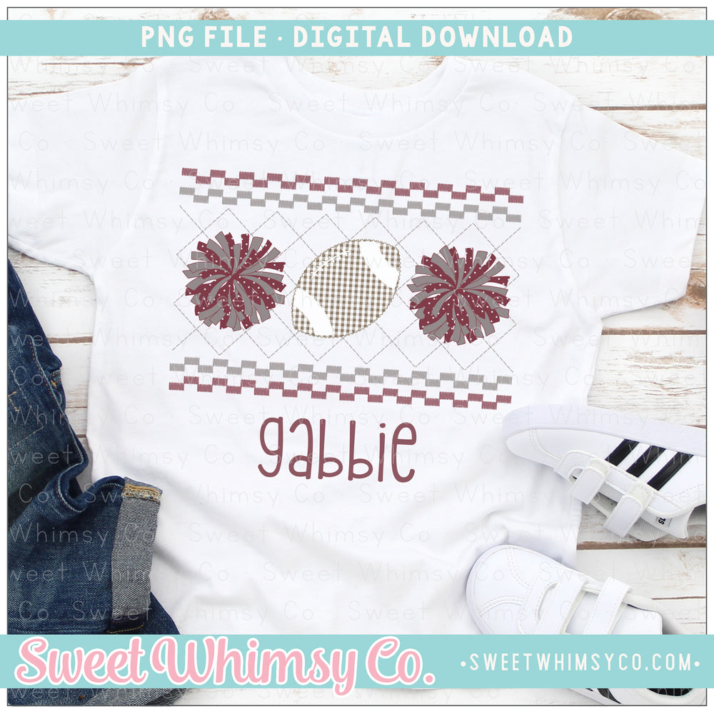 Football Cheer PomPom Maroon Grey Faux Smocked PNG Design