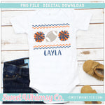Football Cheer PomPom Blue and Orange Faux Smocked PNG Design
