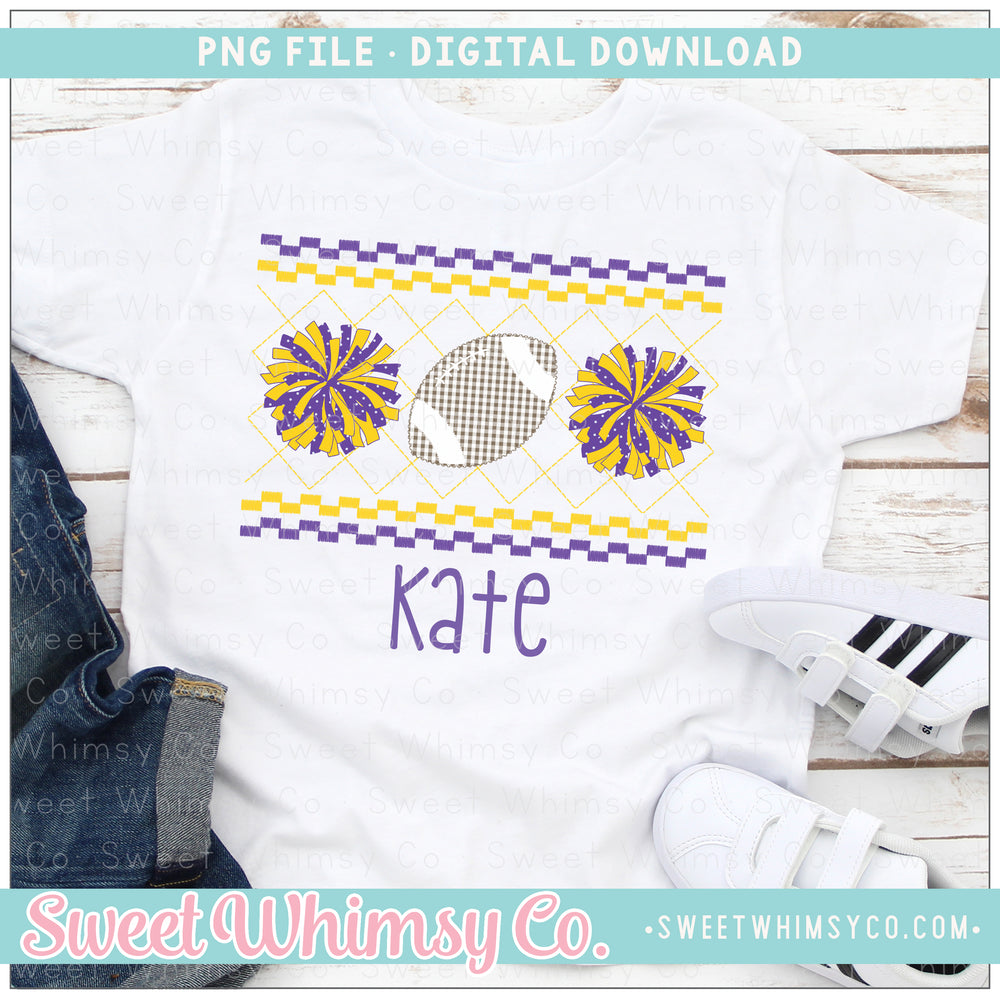 Football Cheer PomPom Purple and Yellow Faux Smocked PNG Design