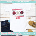 Football Cheer PomPom Red and Black Faux Smocked PNG Design