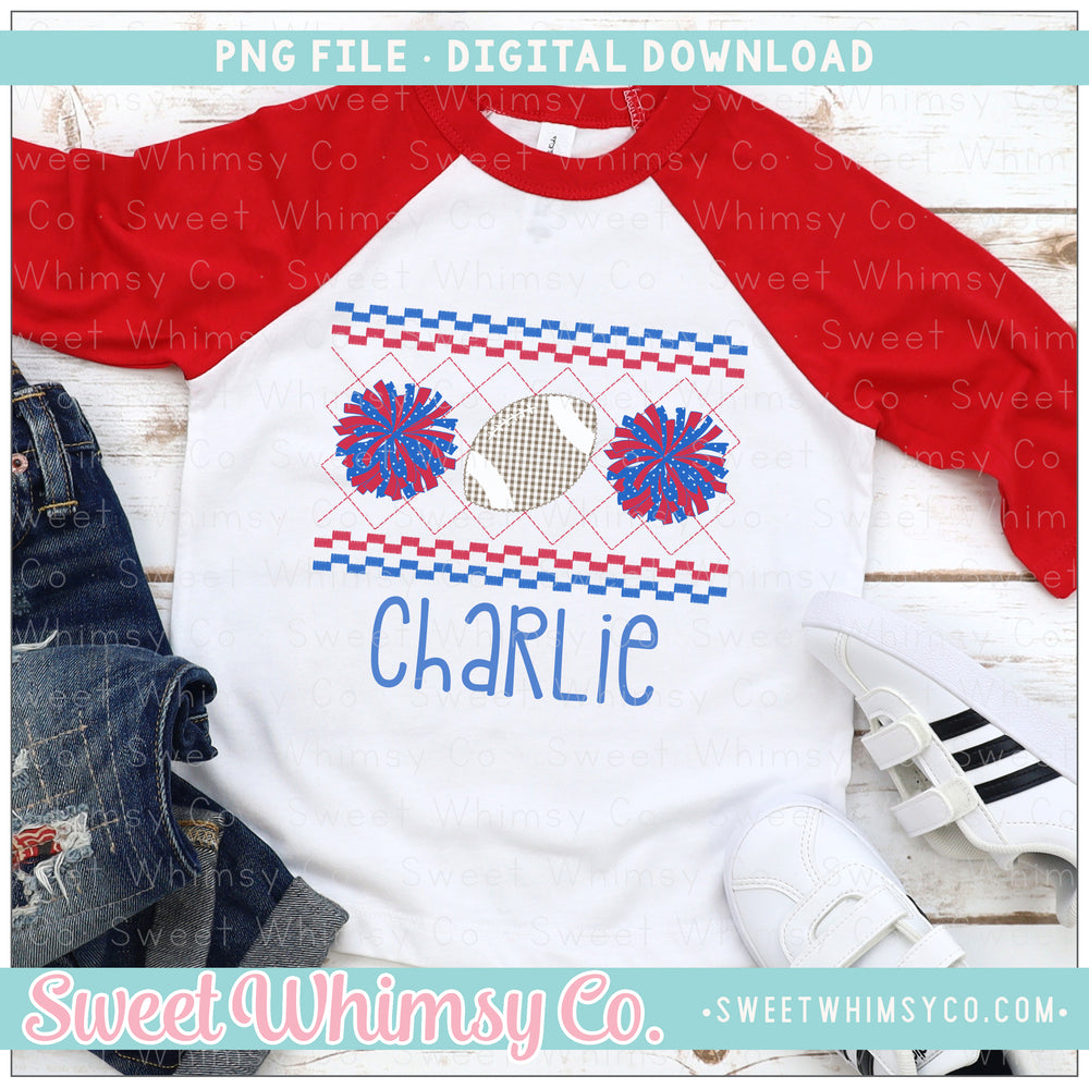 Football Cheer PomPom Red and Blue Faux Smocked PNG Design