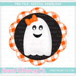 Girl Ghost Scallop Frame Black Orange PNG Design