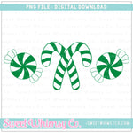 Green Peppermint Trio PNG Design