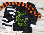 Halloween Dots Black Striped Pajama Mock Up