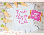 Happy Easter Short Sleeve Ruffled Shirt Mock Up