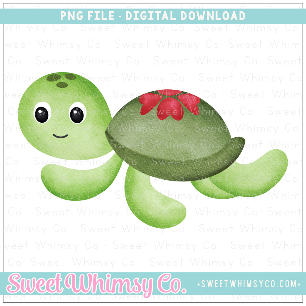 Heart Shell Sea Turtle PNG Design
