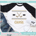 Hockey Black and Gold Faux Smocked PNG Design