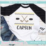 Hockey Black and Yellow Gold Faux Smocked PNG Design