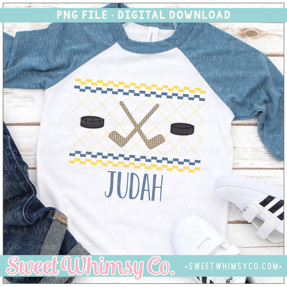 Hockey Navy and Yellow Faux Smocked PNG Design