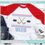 Hockey Red and Blue Faux Smocked PNG Design