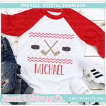 Hockey Red Faux Smocked PNG Design