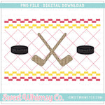 Hockey Yellow and Red Faux Smocked PNG Design