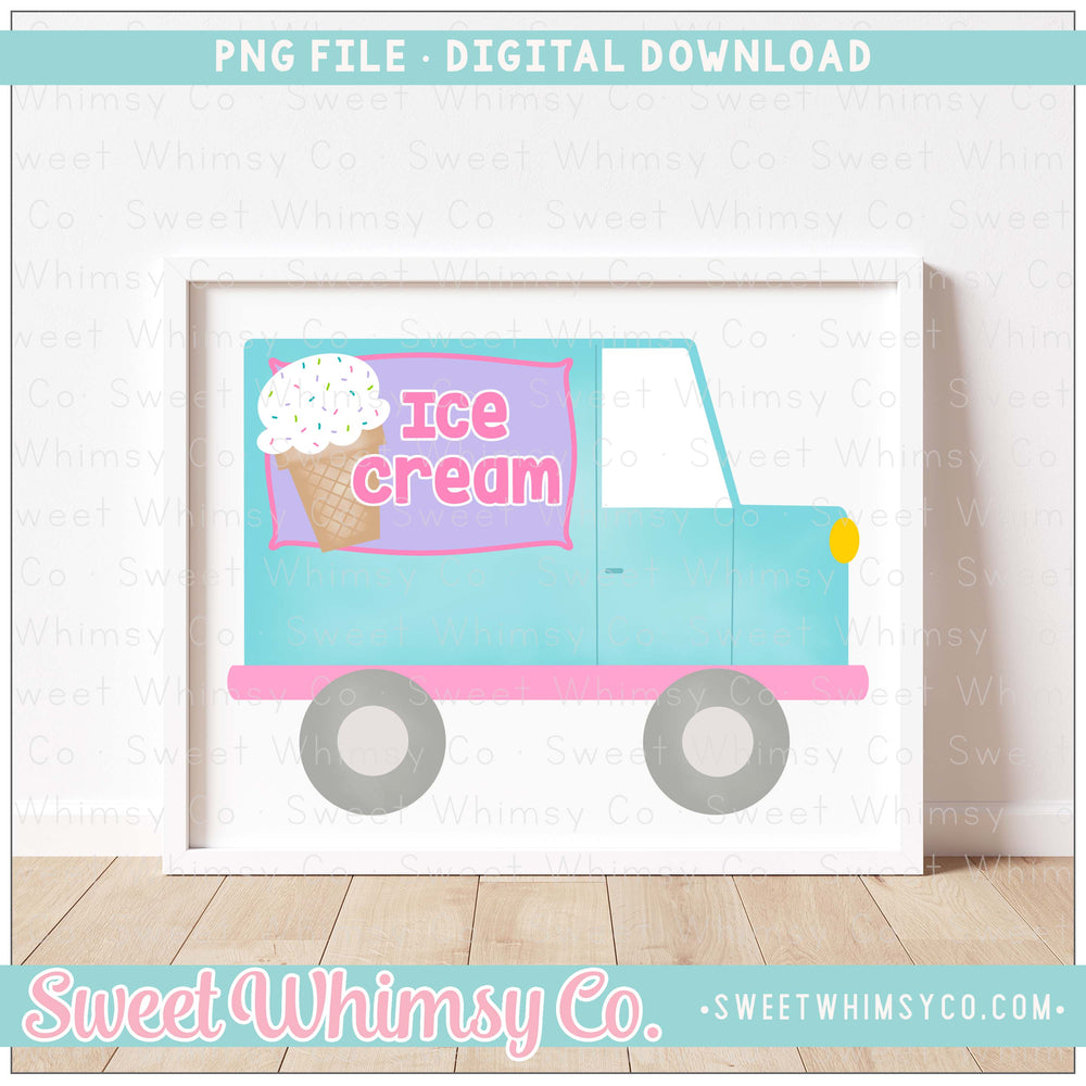 Ice Cream Truck Turquoise and Pink PNG Design