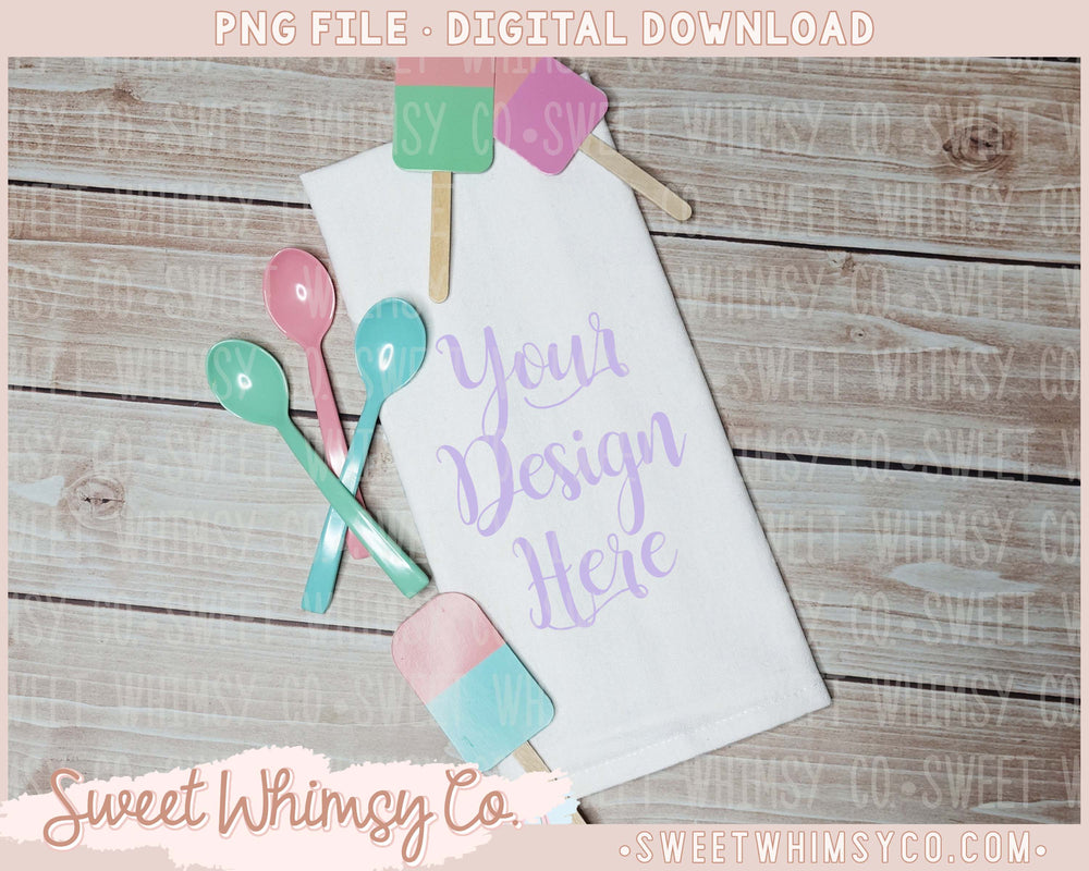 Ice Cream Dish Towel Mock Up