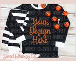 Jack O Lantern Black Striped Pajama Mock Up