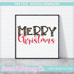 Leopard Merry Christmas PNG Design