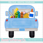 School Supplies Light Blue Pickup Truck PNG Design