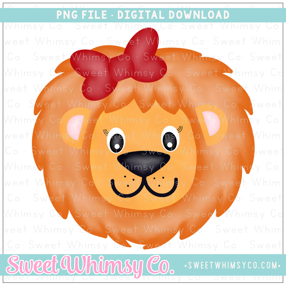 Lion Girl With Red Bow PNG Design