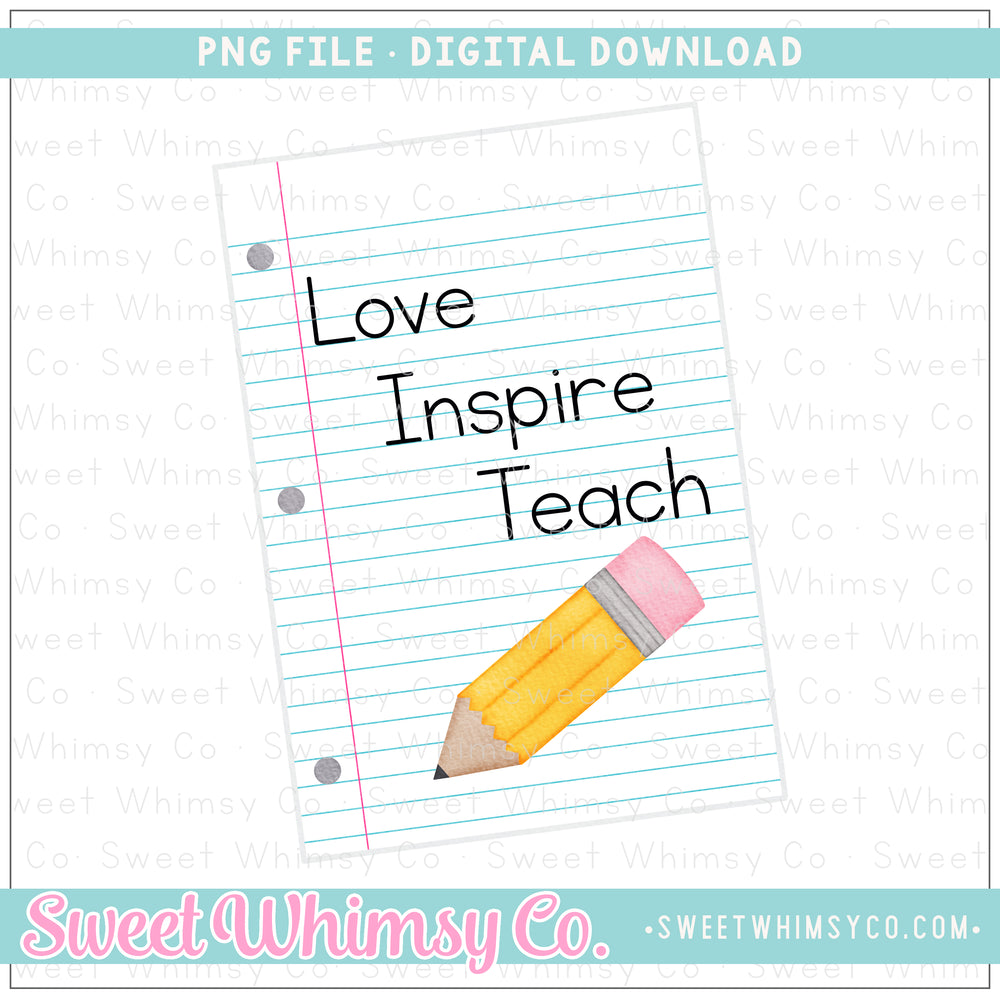Love Inspire Teach Paper PNG Design