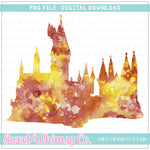 Maroon & Yellow Gold Watercolor Wizard Castle PNG Design