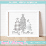 Merry Christmas Grey Leopard Tree Trio PNG Design